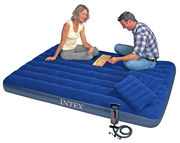 Надувной матрас кровать Интекс/Intex 203х152х22см: насос,  2 подушки в
