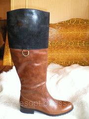 Элегантные коричневые сапоги женские кожаные на низком каблуке